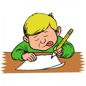 tegning av skrivende person